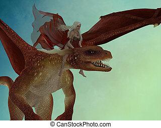 Fairy rides Dragon