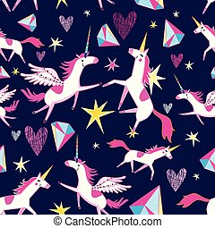 Fairy seamless pattern of funny unicorns on a blue...