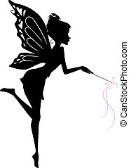 Fairy Silhouette - Illustration Featuring a Fairy Waving Her...