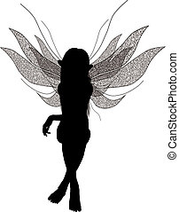 Fairy Silhouette - Silhouette of a fairy sitting down