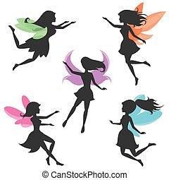 fairy, silhuetter, vektor