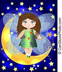 Fairy sitting on a moon