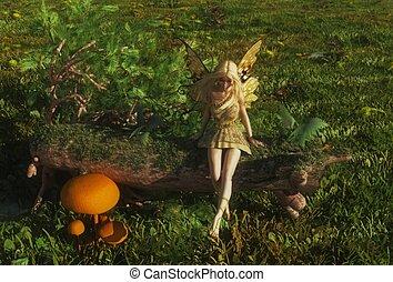 Fairy sitting on a mossy log