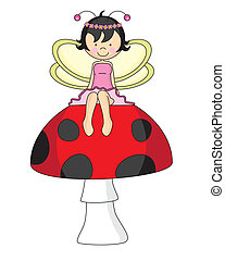 Fairy sitting on a mushroom
