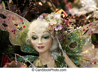 Fairy - The doll - fairy with wings on a New Year tree