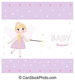 Fairy tale baby shower greeting card with crown, diamonds vector.eps