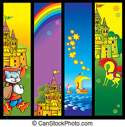 Fairy-tale banners with place for sample text. Vector art-illustration.