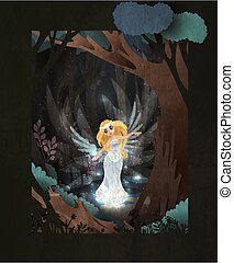 Fairy tale book cover illustration swan princess in front of dark magic forest/