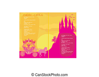 fairy tale book - Silhouette of a horse carriage and a medieval castle