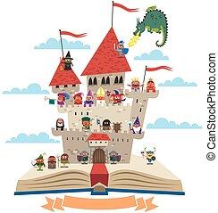 Fairy Tale Book - Open book with fairy tale castle on it, on...