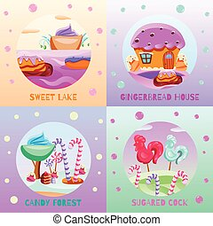 Fairy Tale Candy Land Concept - Fairy tale candy land flat...