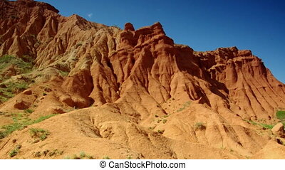 Fairy Tale Canyon, rock formations on the Issyk-Kul lake....