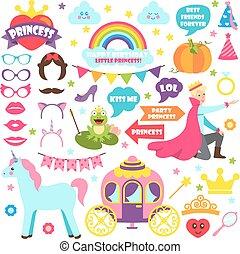 Fairy Tale Carnaval Icons Vector Illustration Set