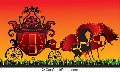 Fairy-tale carriage. - Two horses with royal carriage....