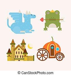 Fairy tale cartoon characters and magic vector flat animals