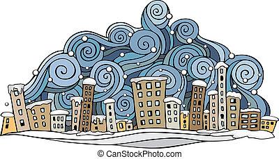 cartoon vector abstract winter city