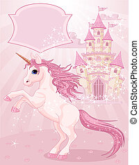 Fairy Tale Castle and Unicorn - Illustration of a Fairy Tale...