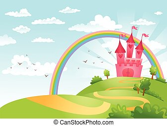 Fairy Tale castle. - FairyTale landscape, the road leading...