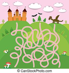 Fairy-tale castle, dragon, bats, forest labyrinth game for Preschool Children. Vector