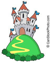 Fairy tale castle - isolated illustration.