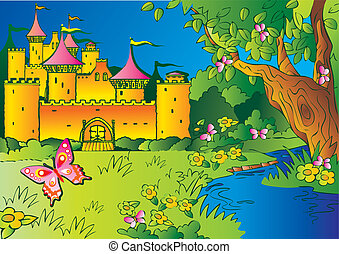 Fairy-tale castle in the woods. Vector art-illustration.