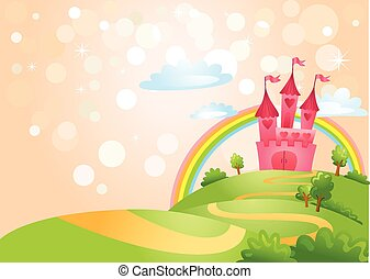 Fairy Tale landscape, the road leading to the castle. Vector illustration