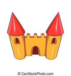 Fairy tale castle icon, cartoon style