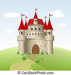 Fairy-tale castle on a green field.