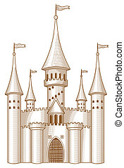 Fairy-tale castle - Sketch of fairy-tale castle on white...
