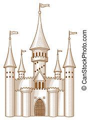 Fairy-tale castle - Sketch of fairy-tale castle on white...