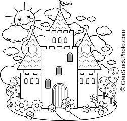 Fairy tale castle. Vector black and white coloring page.