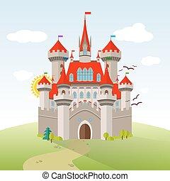 Fairy-tale Castle. Vector Imagination Child Illustration....