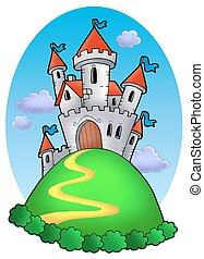 Fairy tale castle with clouds - color illustration.
