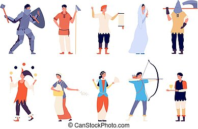 Fairy tale characters. Fairy and knight, court lady and executioner, archer and king, warrior and joker medieval cartoon vector set