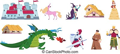 Fairy tale characters. Medieval cartoon castles and persons, kings wizards dragon and knight. Vector flat prince and princess magic set