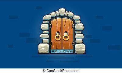Fairy-tale door with golden handles entrance. Vector