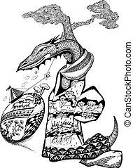 Fairy-tale dragon. Vector art-illustration on a white...