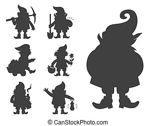Fairy tale fantastic gnome dwarf elf character black silhouette poses magical leprechaun cute fairy tale man vector illustration