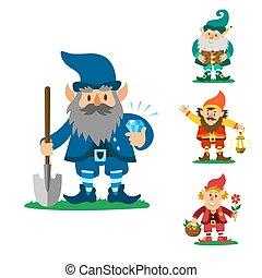 Fairy tale fantastic gnome dwarf elf character poses magical leprechaun cute fairy tale man vector illustration