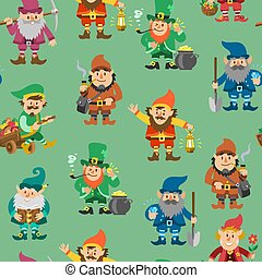 Fairy tale fantastic gnome seamless pattern, vector illustration. Background with dwarf elf. Magical leprechaun, fairy tale man, gnome with showel, crystals and gold.