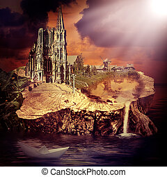 Fairy tale. fantasy castle and village
