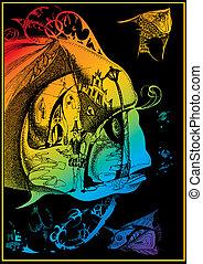Fairy-tale fish. Vector art-illustration on a black...
