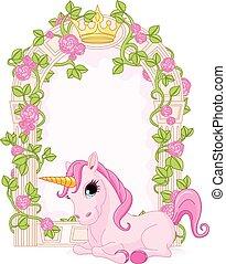 Fairy tale frame with unicorn - Romantic floral fairy tale...