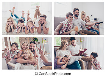 Fairy tale free time small little preteen concept. Photo composite multiple collage of carefree joyful dreamy positive family having fun together making self selfie on smartphone rest relax house