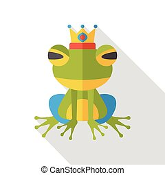 fairy tale frog flat icon