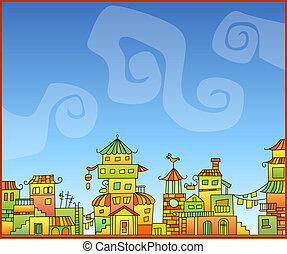 Fairy-tale hand-drawn town