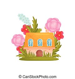 Fairy tale house among the grass and flowers. Vector illustration on white background.