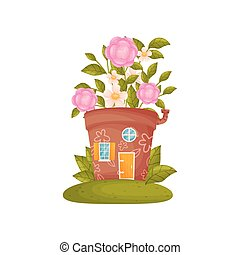 Fairy-tale house from a flower pot. Vector illustration on white background.