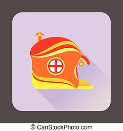 Fairy-tale house icon, flat style