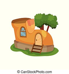 Fairy-tale house in form of yellow shoe with little window...